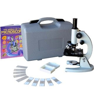 AmScope 40x-1000x Student Metal Compound Microscope with ABS Case and 10-piece Slides and Book