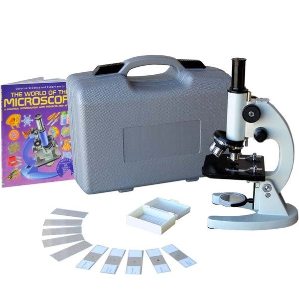 AmScope 40x-640x Student Metal Compound Microscope with ABS Case and 10-piece Specimens and Book