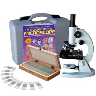 AmScope 40x-1000x Metal Frame Student Microscope with ABS Case and 50-piece Specimens and Book