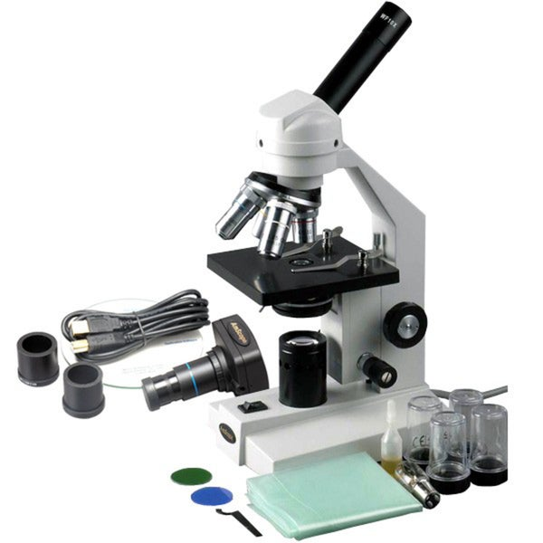 AmScope 40x-1000x Advanced Microscope with Mechanical Stage and 1.3MP Camera