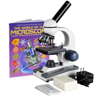 AmScope 40x-1000x Coarse and Fine Student Compound Microscope with 25 Prepared Slides and Book