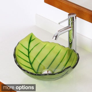 Elite Spring+F371023 Leaves Design Tempered Glass Bathroom Vessel Sink With Faucet Combo