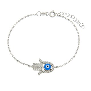 Eternally Haute Sterling Silver Cubic Zirconia Light Blue Hamsa Evil Eye Bracelet