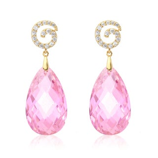 Blue Box Jewels Light Pink Cubic Zirconia Swirly Top Teardrop Earrings