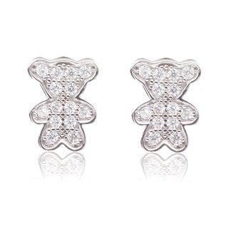 Blue Box Jewels Sterling Silver Cubic Zirconia Teddy Bear Earrings