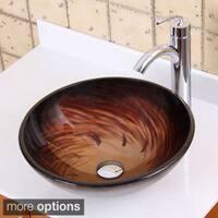 Elite 1402+882002 Modern Design Tempered Glass Bathroom Vessel Sink With Faucet Combo