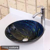 Elite 1403+882002 Modern Design Tempered Glass Bathroom Vessel Sink with Faucet Combo