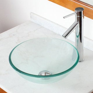 Shop Elite Clear Round Tempered Glass Bowl Vessel Sink And