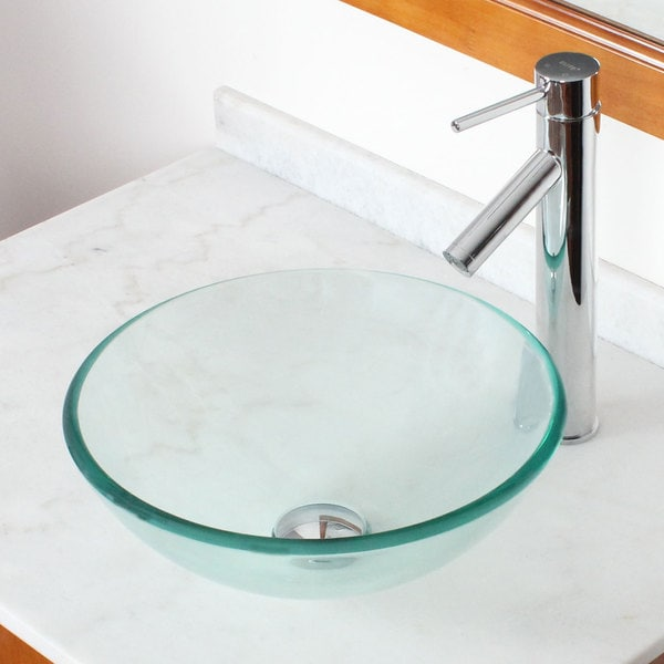 Elite GD05S Clear Tempered Glass Bathroom Vessel Sink and Faucet ...