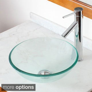 Elite GD05S Clear Tempered Glass Bathroom Vessel Sink and Faucet Combo