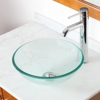 Elite GD05S+F371023 Small Clear Tempered Glass Bathroom Vessel Sink With Faucet Combo