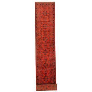 Herat Oriental Afghan Hand-knotted Tribal Khal Mohammadi Red/ Black Wool Rug (2'6 x 16'1)