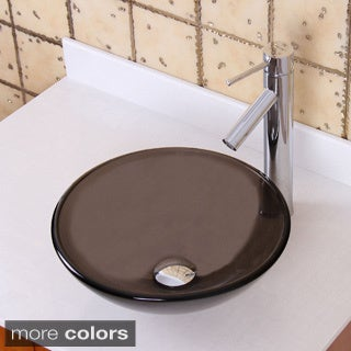 Elite GD53S+2659 Natural Small Clear Brown Tempered Glass Bathroom Vessel Sink With Faucet Combo
