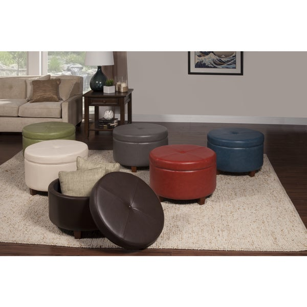 HomePop Large Ivory Leather Round Storage Ottoman   Free Shipping Today    Overstock.com   16936685