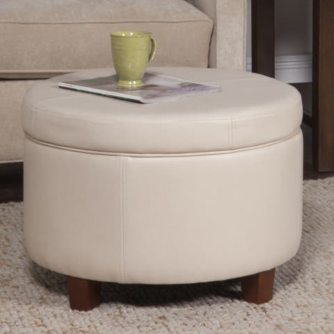 Porch & Den Rockwell Large Ivory Faux Leather Round Storage Ottoman