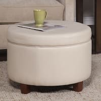 Porch & Den Rockwell Large Ivory Leather Round Storage Ottoman