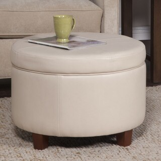 Porch & Den Los Feliz Rowena Large Ivory Faux Leather Round Storage Ottoman