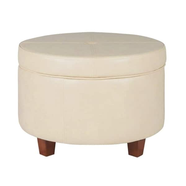 Marvelous Shop Porch Den Rockwell Large Ivory Faux Leather Round Alphanode Cool Chair Designs And Ideas Alphanodeonline