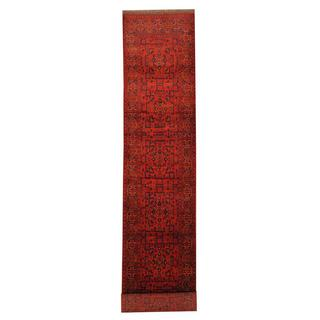 Herat Oriental Afghan Hand-knotted Tribal Khal Mohammadi Red/ Black Wool Rug (2'7 x 15'2)