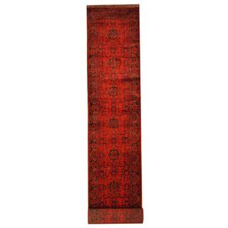 Herat Oriental Afghan Hand-knotted Tribal Khal Mohammadi Red/ Black Wool Rug (2'8 x 15'11)