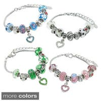Eternally Haute Glass and Crystal Heart Mom Charm Bracelets