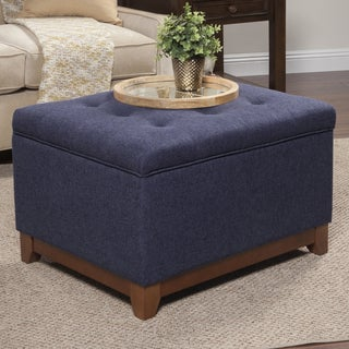 HomePop Navy Chunky Textured Storage Ottoman