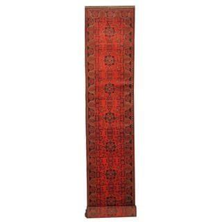 Herat Oriental Afghan Hand-knotted Tribal Khal Mohammadi Red/ Black Wool Rug (2'8 x 15'10)