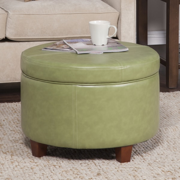 HomePop Large Moss Green Round Storage OttomanFree Shipping