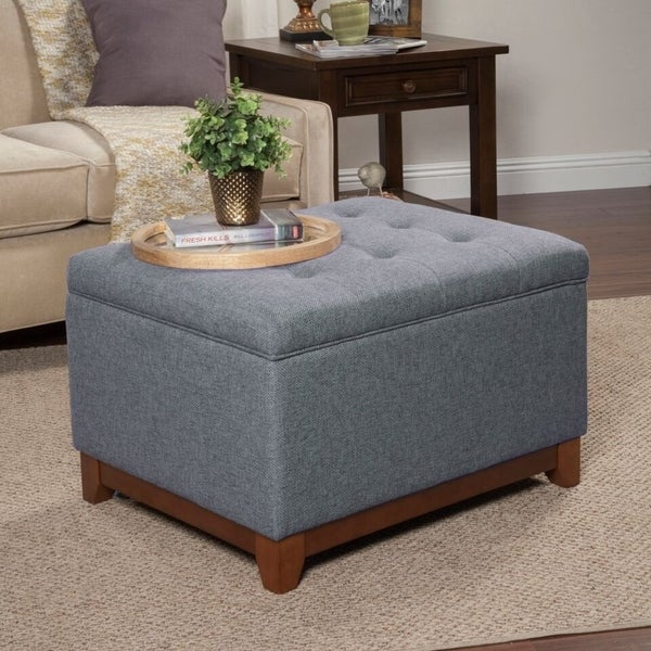 Shop Copper Grove Germain Grey Large Square Tufted Bench