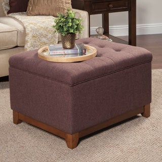 HomePop Espresso Brown Chunky Textured Storage Ottoman