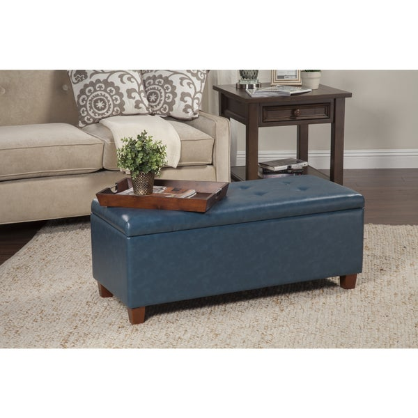 Shop Homepop Large Teal Leatherette Storage Bench Free