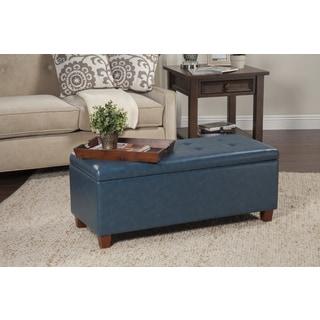 HomePop Large Teal Leatherette Storage Bench
