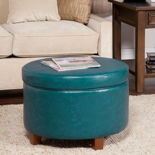 HomePop Large Teal Leatherette Storage Ottoman