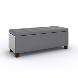 HomePop Charcoal Gray Leatherette Storage Bench