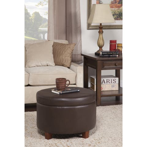 Porch & Den Rockwell Chocolate Brown Faux Leather/Foam/Wood Large Round Storage Ottoman