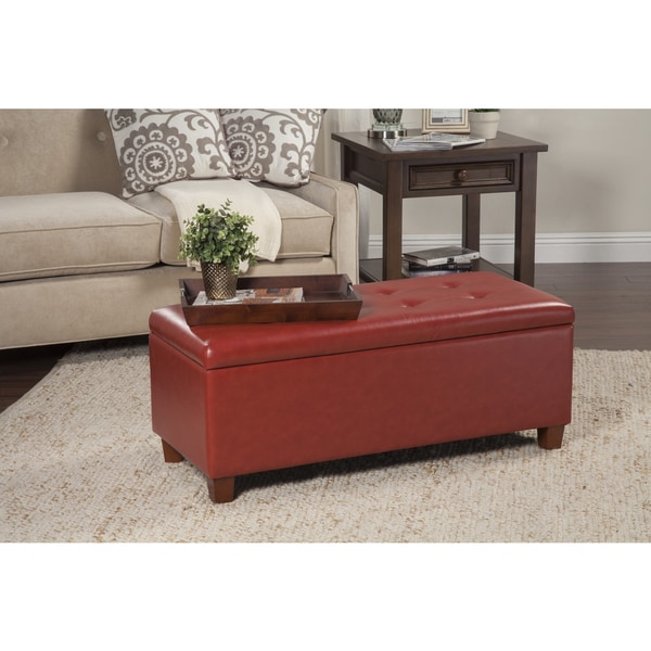 HomePop Cinnamon Red Leatherette Storage Bench