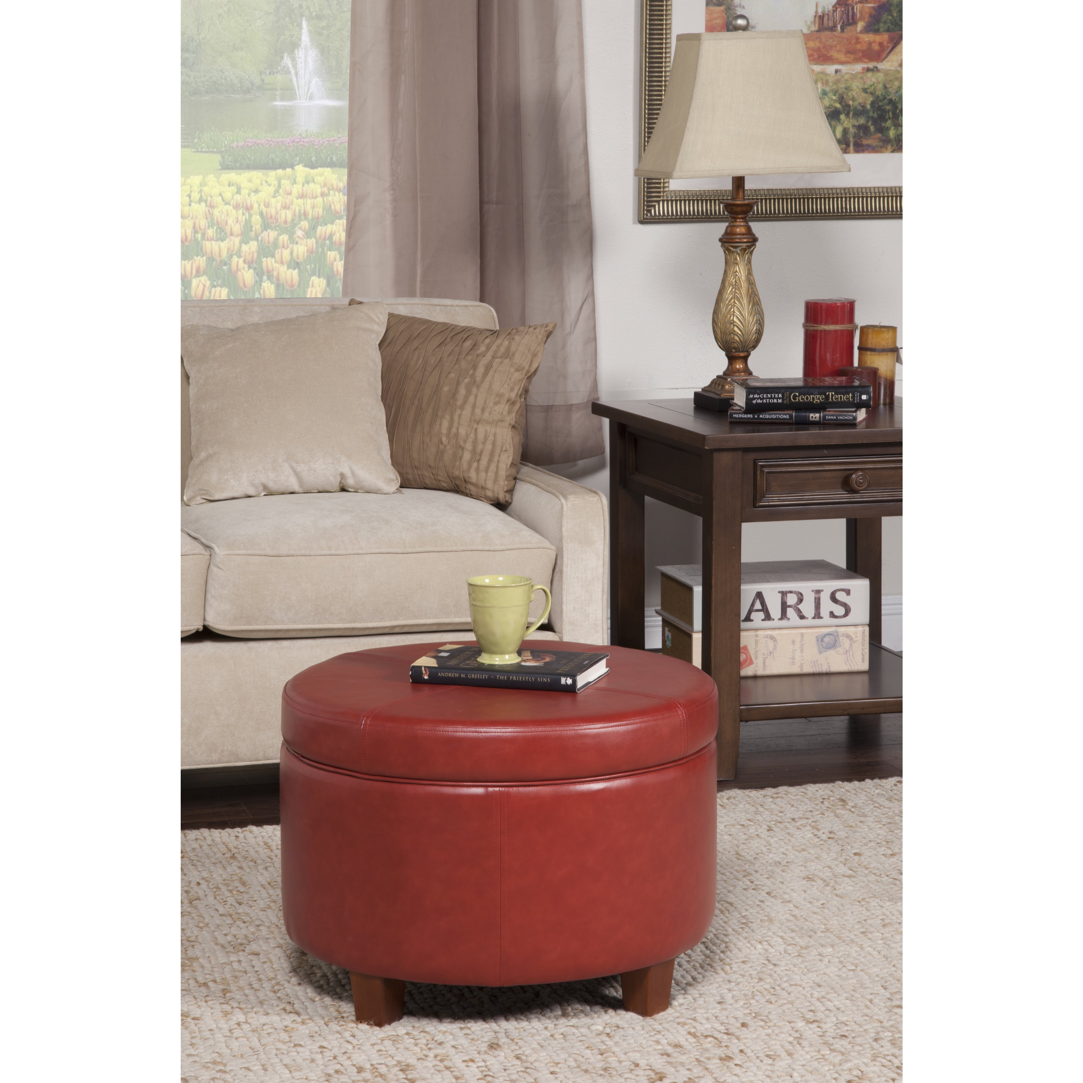 Shop Los Feliz Rowena Cinnamon Red Faux Leather Round