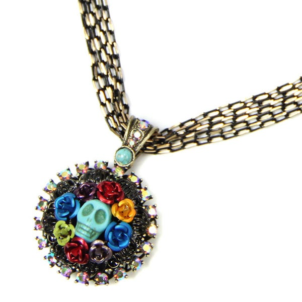 Sweet Romance Turquoise Sugar Skull and Flowers Day of the Dead Necklace