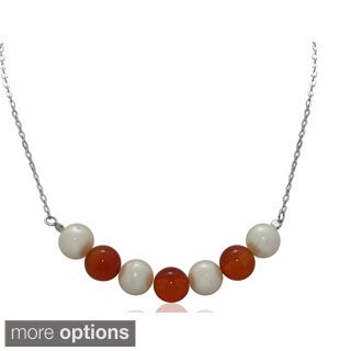 Sterling Silver Gemstone Bead and Freshwater Pearl Necklace (8-9 mm)