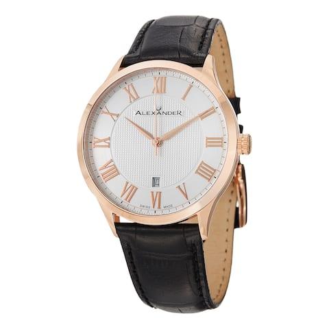 Alexander Men's 'Triumph' Rose Goldtone Statesman Leather Strap Watch
