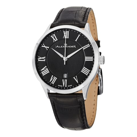 Alexander Men's 'Triumph' Black Dial Black Leather Strap Swiss Quartz Statesman Watch