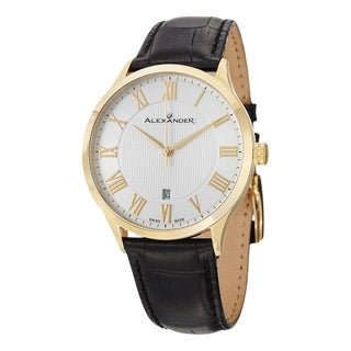 Alexander Men's A103-03 'Triumph' Silver Dial Black Leather Strap Goldtone Swiss Quartz Statesman Watch
