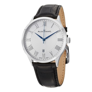 Alexander Men's A103-01 'Triumph' Silver Dial Black Leather Strap Swiss Quartz Statesman Watch