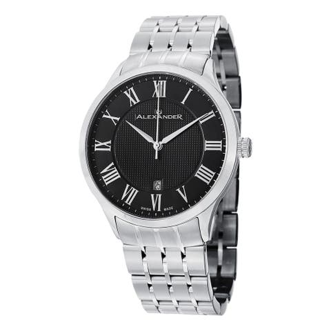 Alexander Men's 'Triumph' Black Dial Stainless Steel Bracelet Swiss Quartz Statesman Watch