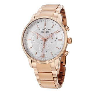 Alexander Men's A101B-04 'Chieftain' Silver Dial Rose Goldtone Steel Chronograph Swiss Quartz Statesman Watch