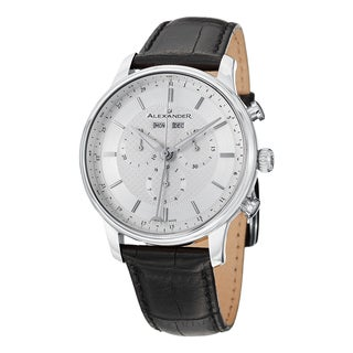 Alexander Men's A101-01 'Chieftain' Silver Dial Black Leather Strap Chronograph Swiss Quartz Statesman Watch