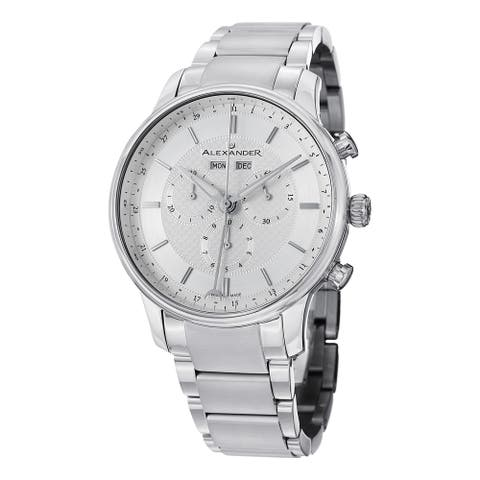 Alexander Men's Swiss Made Chronograph Chieftain Stainless Steel Link Bracelet Watch