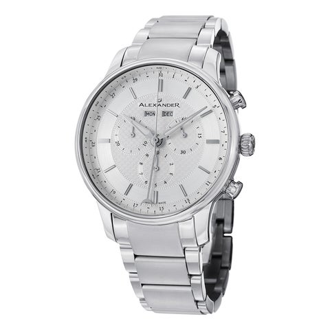 Alexander Men's Swiss Made Chronograph Chieftain Stainless Steel Link Bracelet Watch