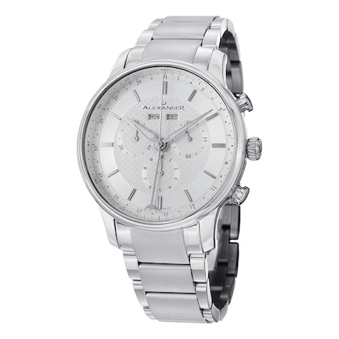 85977909339 Alexander Men's Swiss Made Chronograph Chieftain Stainless Steel Link  Bracelet Watch