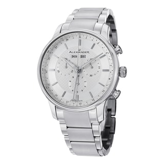 Alexander Men's A101B-01 'Chieftain' Silver Dial Stainless Steel Chronograph Swiss Quartz Statesman Watch